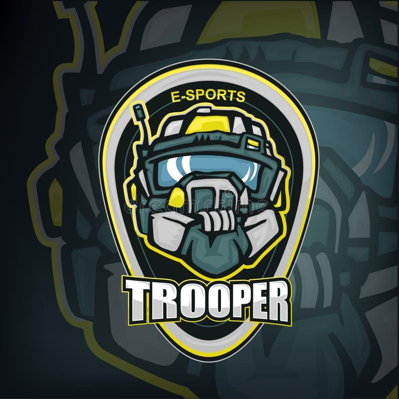 E-Sportmaskottchen des futiristic Soldatsoldatkopfes im schweren Sturzhelm stock abbildung