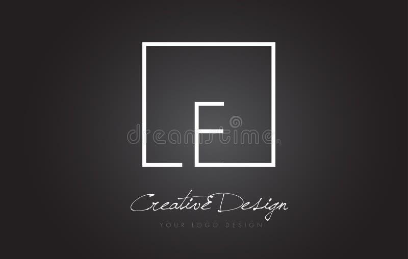 E Square Frame Letter Logo Design with Black and White Colors. stock illustration