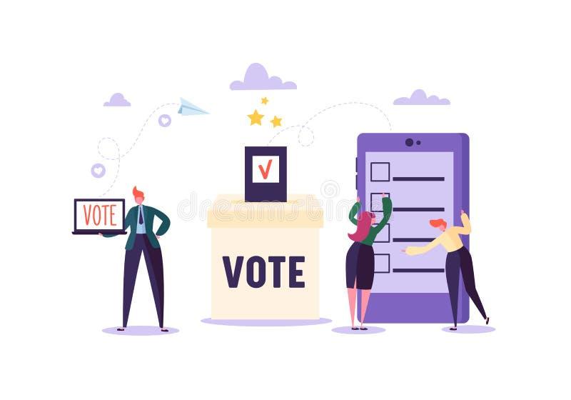E-stemmend Concept met Karakters die Gebruikend Laptop en Tablet via Elektronisch Internet-Systeem stemmen De man en de Vrouw gev royalty-vrije illustratie