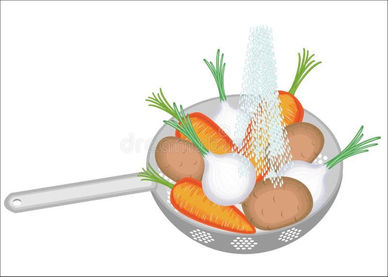 E Sulle patate della colapasta, cipolle, carote Le verdure succose dovrebbero essere pulito alimentare illustrazione vettoriale