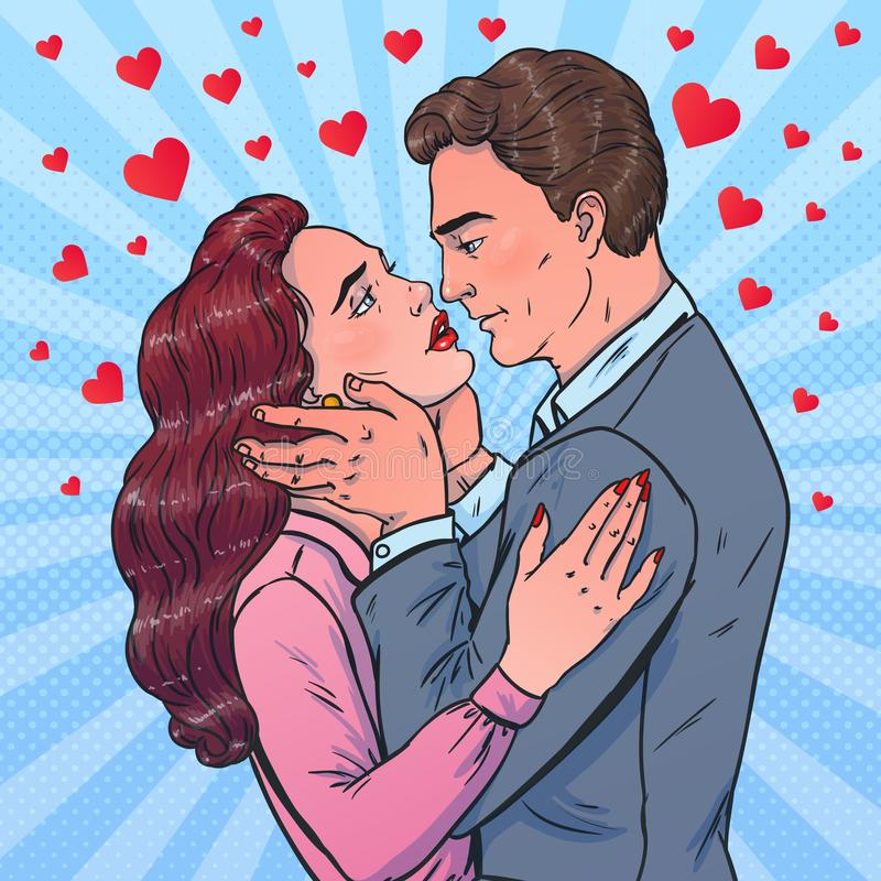 E svarta par för bakgrund som kramar manromantikerkvinnan första kyss vektor illustrationer
