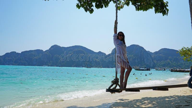 E Swing p? stranden arkivbild