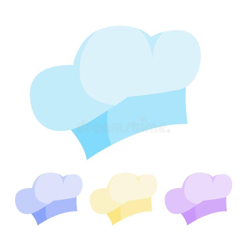 E tła szef kuchni kapeluszowy ilustraci trzy warianta biel r Odosobniona kreskówki ilustracja ilustracja wektor