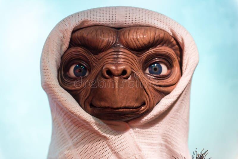 e T het Buitenaardse, wasbeeldhouwwerk, Mevrouw Tussaud stock fotografie