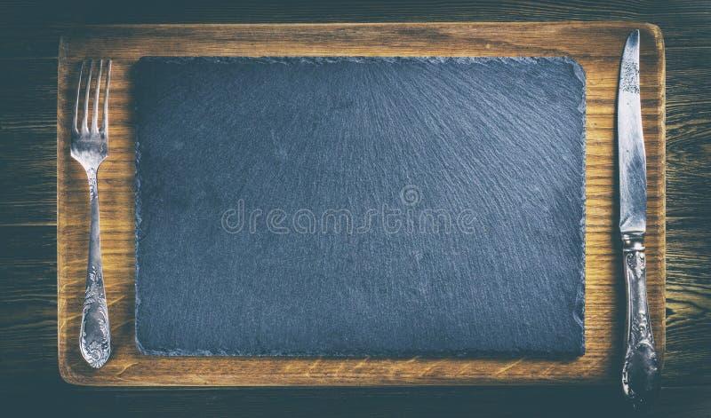 E Tabela de madeira Placa do carvalho Espaço para o texto, vista superior r imagens de stock