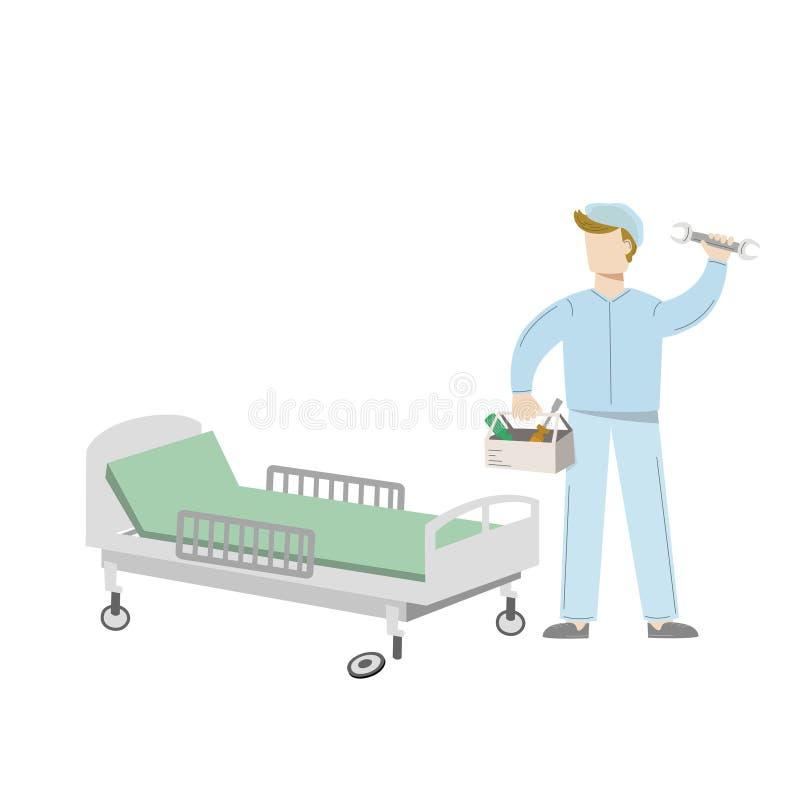E Technika naprawa łamający łóżko szpitalne Wektorowa ilustracja odizolowywająca na bielu royalty ilustracja