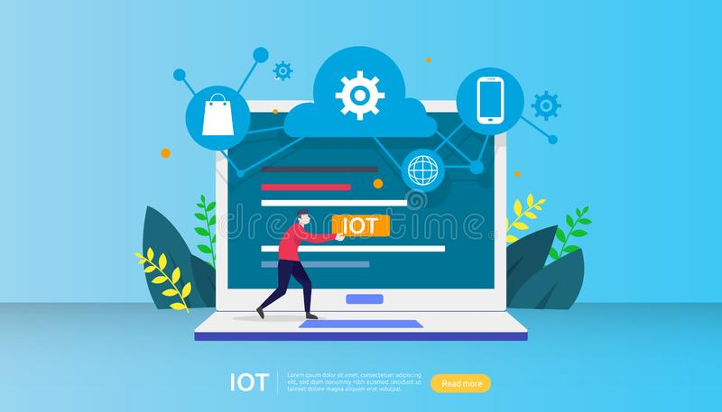 E 0 tecnologias da casa na tela do portátil do Internet das coisas conectaram objetos ilustração royalty free