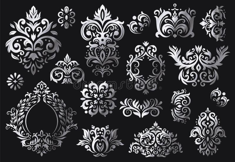 E Teste padr?o floral ornamentado dos ramos, ornamento luxuosos do damasco e testes padr?es victorian dos damascos da sarja ilustração royalty free