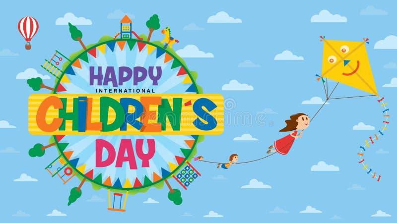 E Text innerhalb eines Kreises umgeben durch Spielplätze und Bäume, wo Kinder fliegen lizenzfreie abbildung