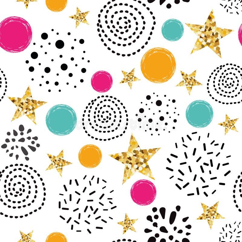 E Textura sem emenda das estrelas abstratas azuis do brilho do ouro das estrelas do ouro ilustração stock