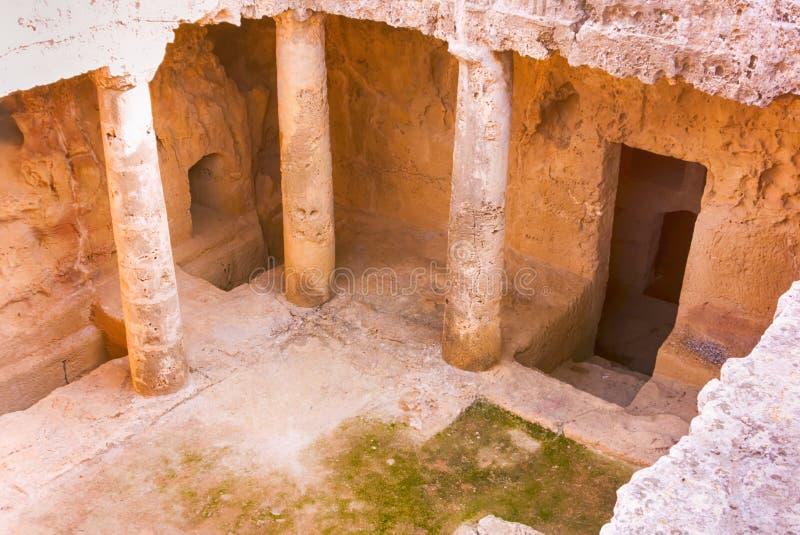 E Tombeaux du Kingfs, Paphos, Chypre photo libre de droits