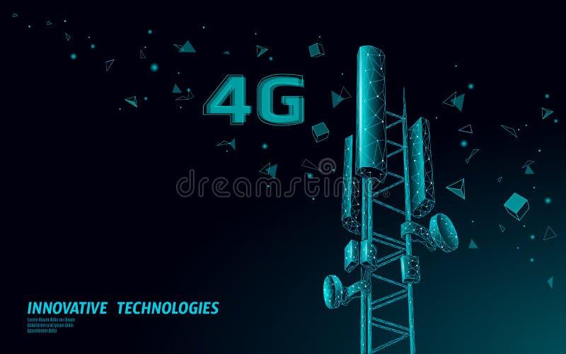 E transmisor global de la información de conexión del diseño poligonal de la torre 4g de la telecomunicación m?vil stock de ilustración