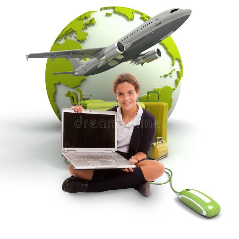 Download E-traveling kid stock image. Image of schoolgirl, luggage - 19451645