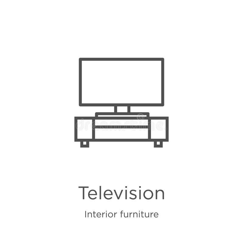 E Tunn linje illustration för vektor för televisionöversiktssymbol Översikt som är tunn royaltyfri illustrationer