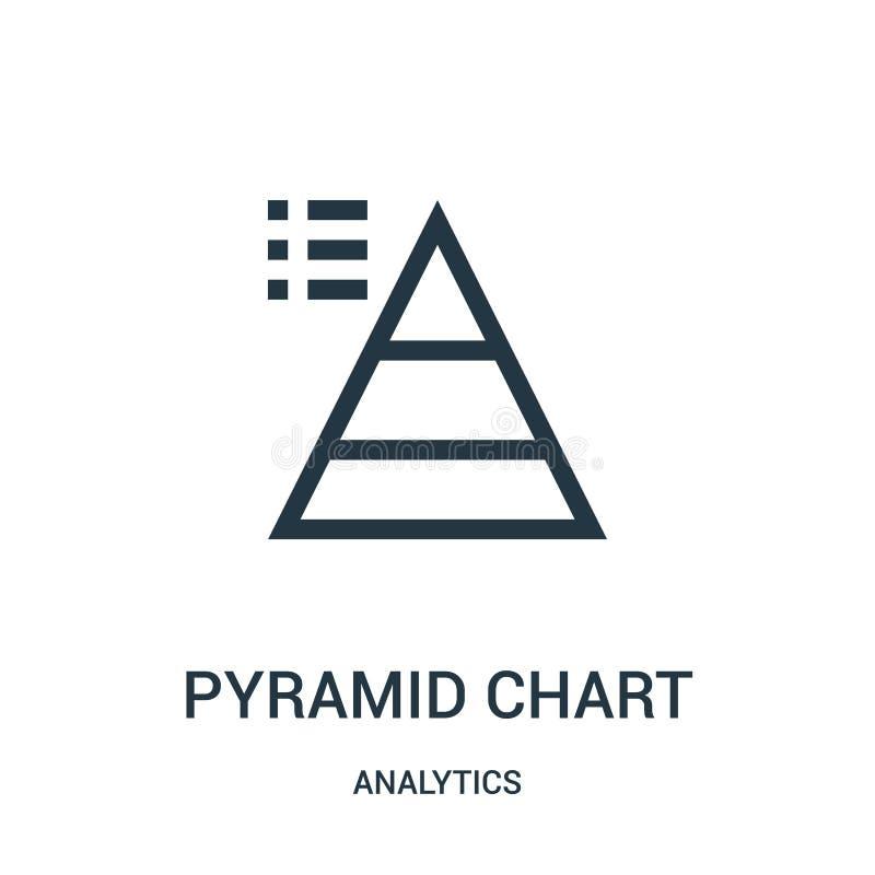 E Tunn linje illustration f?r vektor f?r symbol f?r pyramiddiagram?versikt stock illustrationer