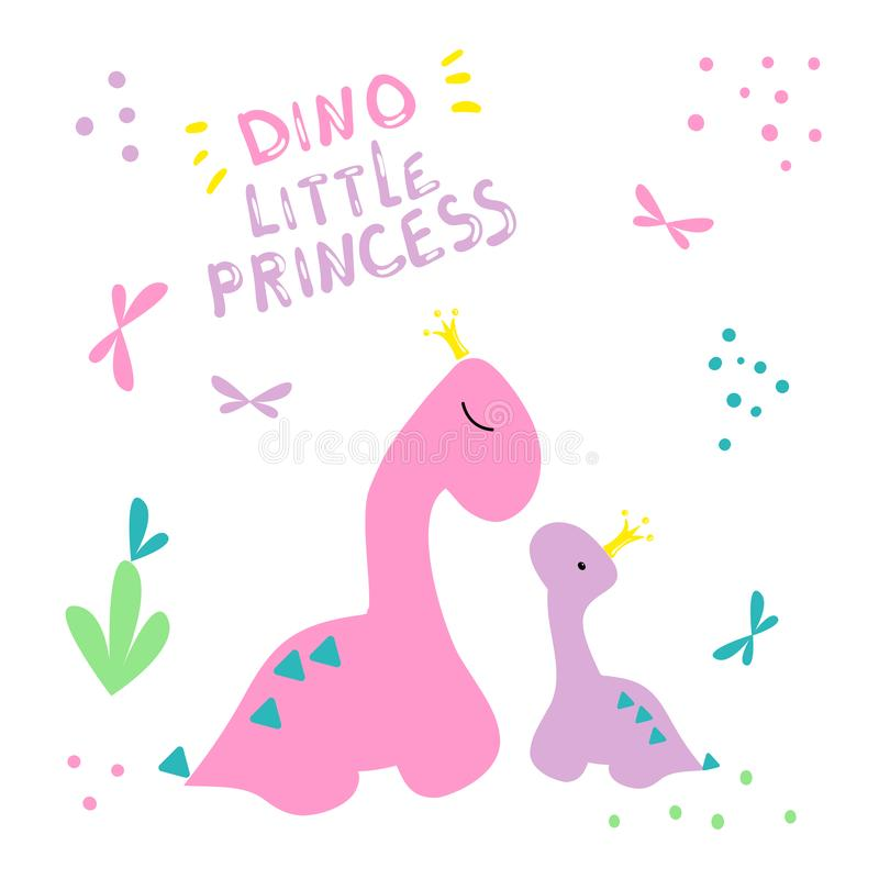 E Två dinosaurier i kronor skrivar ut Liten dinosaurie och hans mammamodell Rosa färgaffisch med att märka den lilla prinsessan royaltyfri illustrationer
