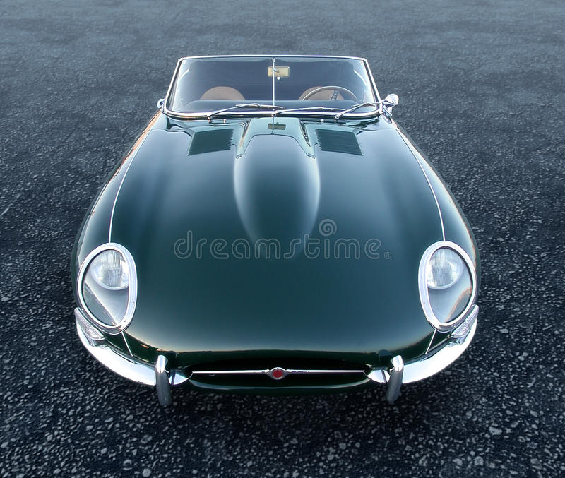 E Type Jag sportscar. Jaguar E-Type 12 cylinders that get you about as fast as todays honda accord vector illustration