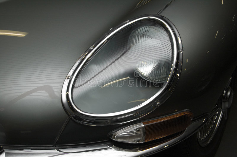 E-Type Jaguar Front Headlight stock image