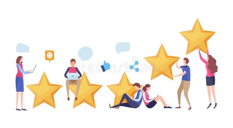 E Użytkownik informacje zwrotne przeglądu ślimacznica wiązki komunikacyjne pojęcia rozmowy ma środki zaludniają socjalny Kreskówk royalty ilustracja