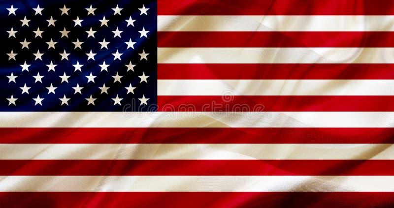 E.U. a bandeira de país do Estados Unidos na textura de ondulação de seda ou de seda ilustração do vetor