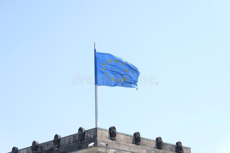 e U Bandera en el Parlamento alemán foto de archivo