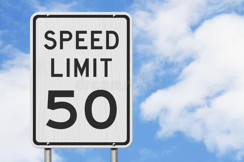 E.U. sinal do limite de velocidade de 50 mph ilustração royalty free
