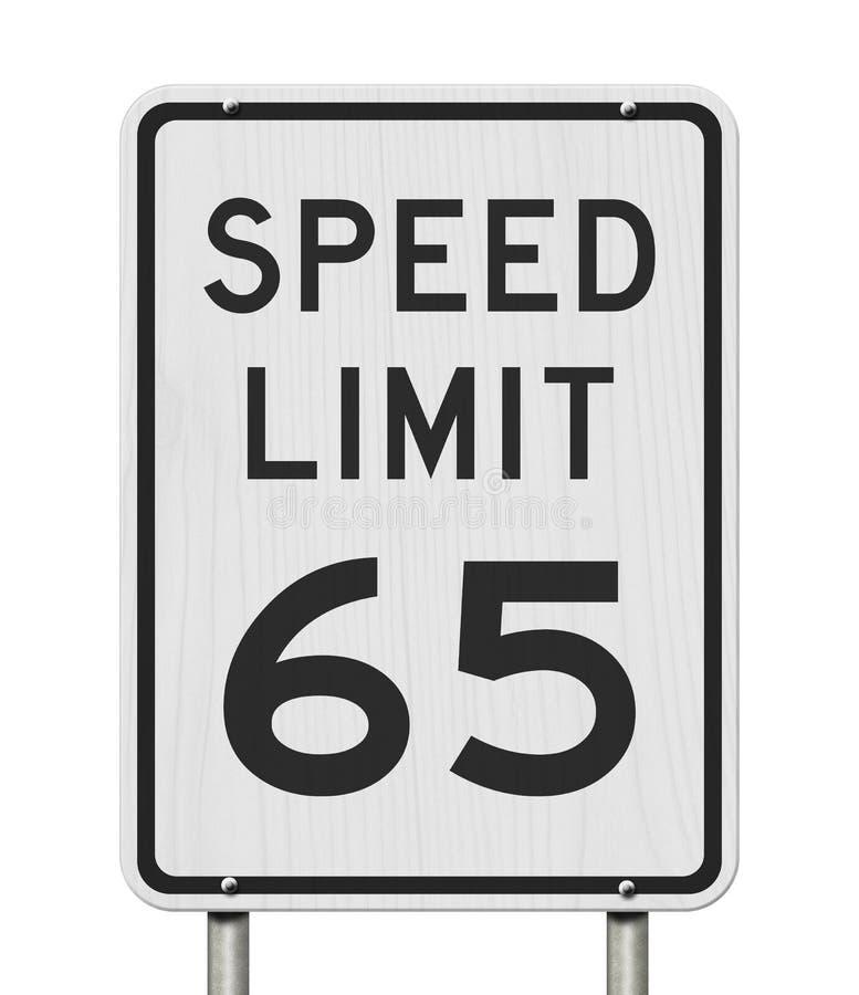 E.U. sinal do limite de velocidade de 65 mph ilustração stock