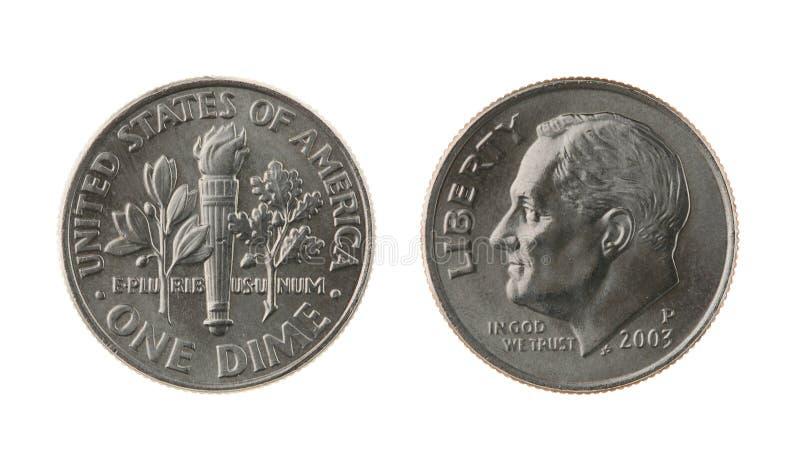 E.U. uma moeda da moeda de dez centavos isolada no branco