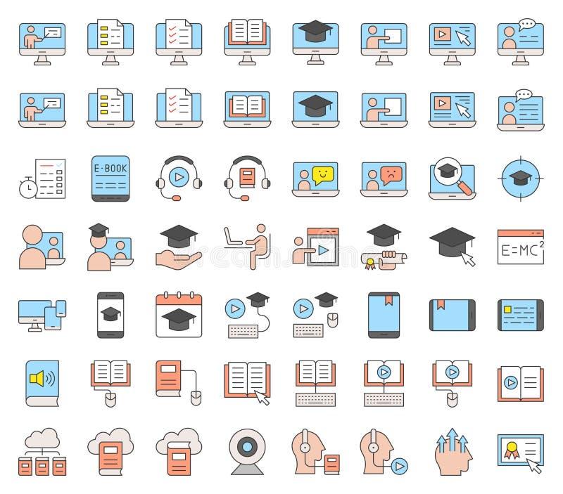 E uczenie i kształcący online ikona set, wypełniający ikony editable st royalty ilustracja