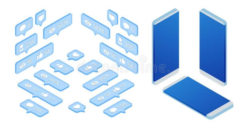 E Uma comunicação em redes sociais r ilustração stock