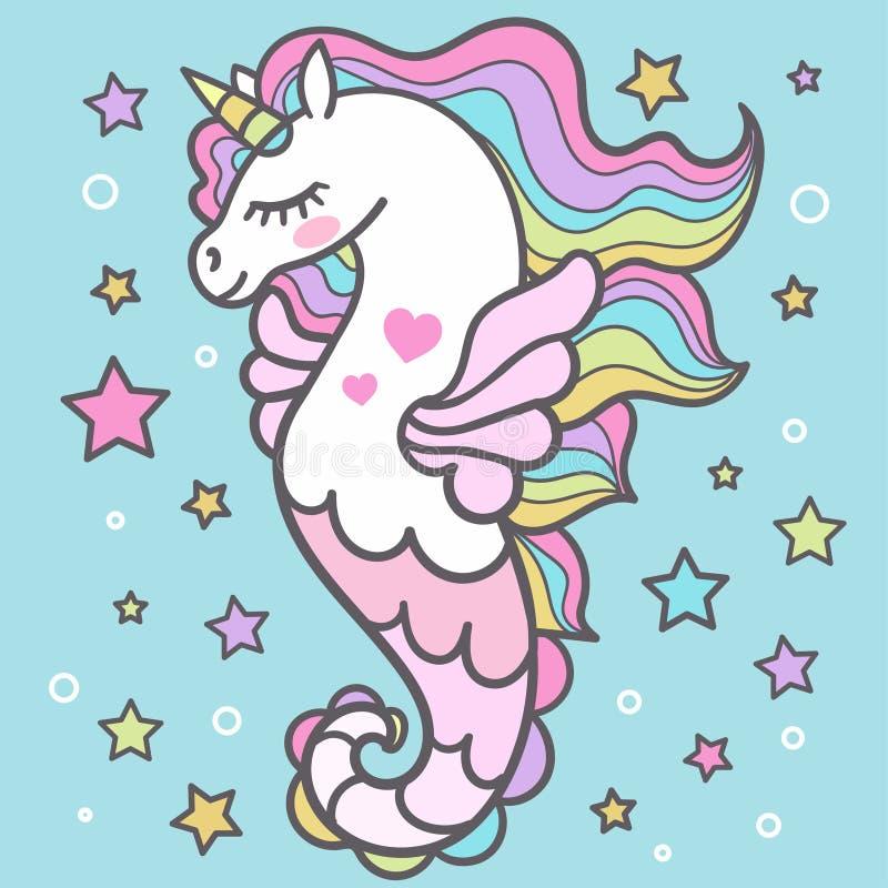 E unicorn vektor stock illustrationer