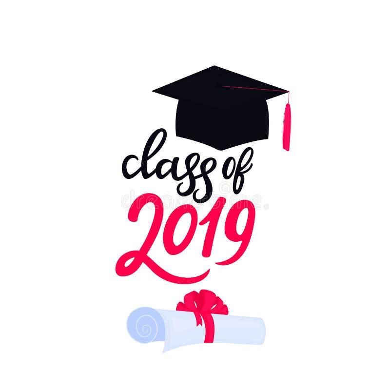 E Universitetavl?ggande av examenlock Grupp av dragen hand 2019 märka snirkeln som binds med a stock illustrationer