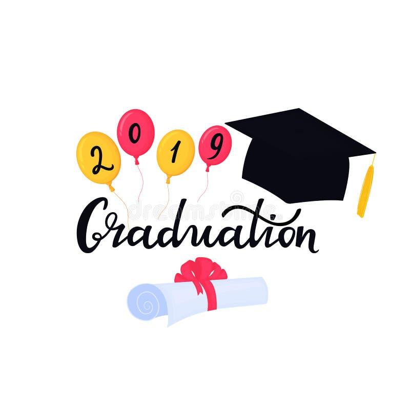 E Universitetavl?ggande av examenlock Utdragen bokstäver för avläggande av examenhand med hatten, ballonger och stock illustrationer