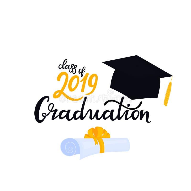 E Universitetlock Avläggande av examengrupp av utdragen bokstäver för 2019 hand med den bundna hatten och snirkeln stock illustrationer