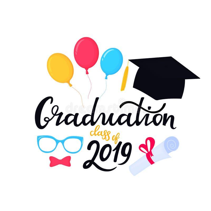 E Universitetlock Avläggande av examengrupp av utdragen bokstäver för 2019 hand med hatten, ballonger stock illustrationer