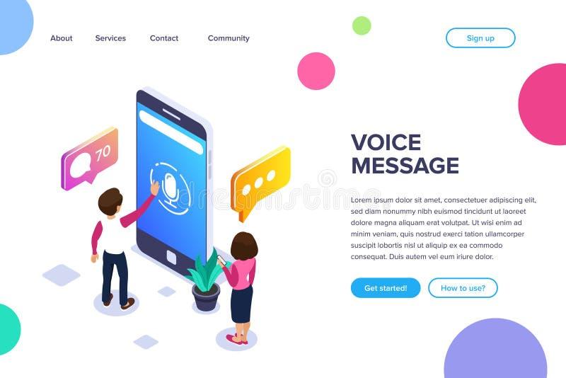 E Utilisez votre téléphone pour échanger des messages de voix Les gens communiquent utilisant la technologie moderne illustration de vecteur