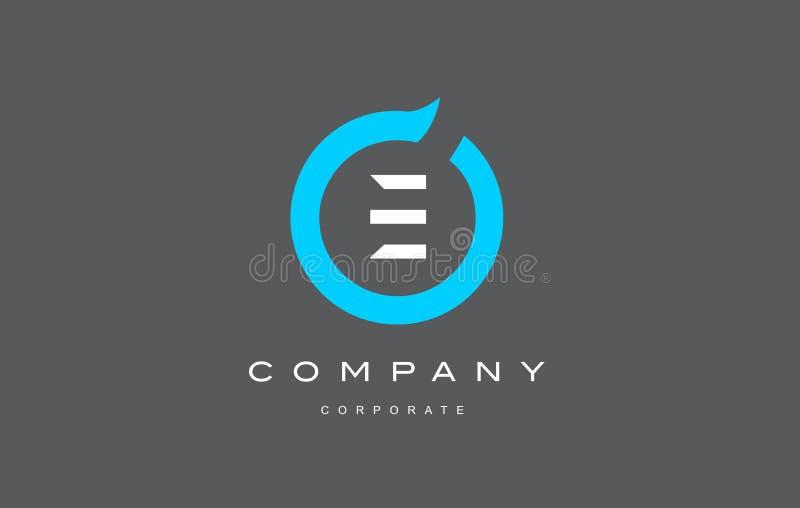 E van het de cirkelembleem van het brievenalfabet het blauwe vectorontwerp stock illustratie