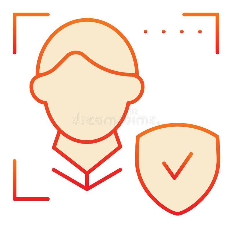 E Varredura da cara e para verificar ícones vermelhos no estilo liso na moda r ilustração do vetor
