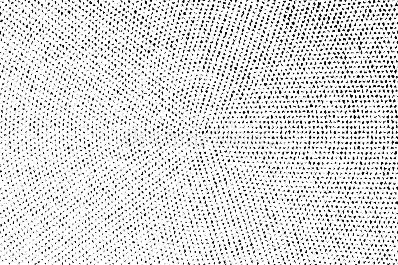 E Verontruste ongelijke oppervlakte Gebroken en vervormde zwart-wit halftone vector illustratie