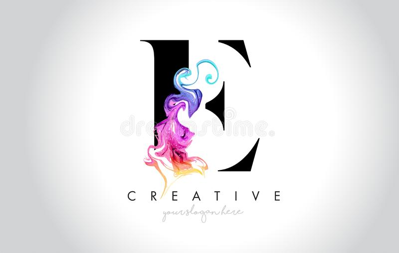 E Vibrant Creative Leter Logo Design with Colorful Smoke Ink Flo. Wing Vector Illustration stock illustration