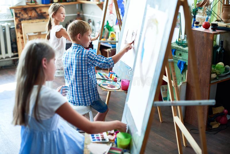 Young Artists in Art Class stock photo