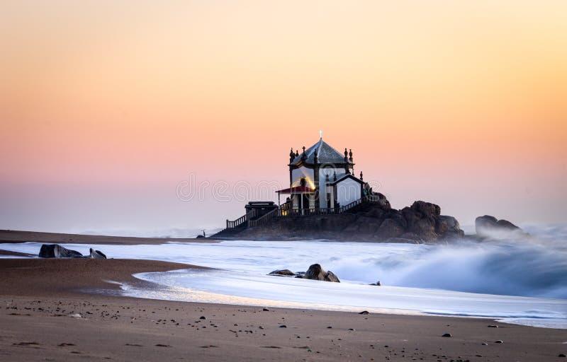Senhor da Pedra Chapel at Sunset stock photo