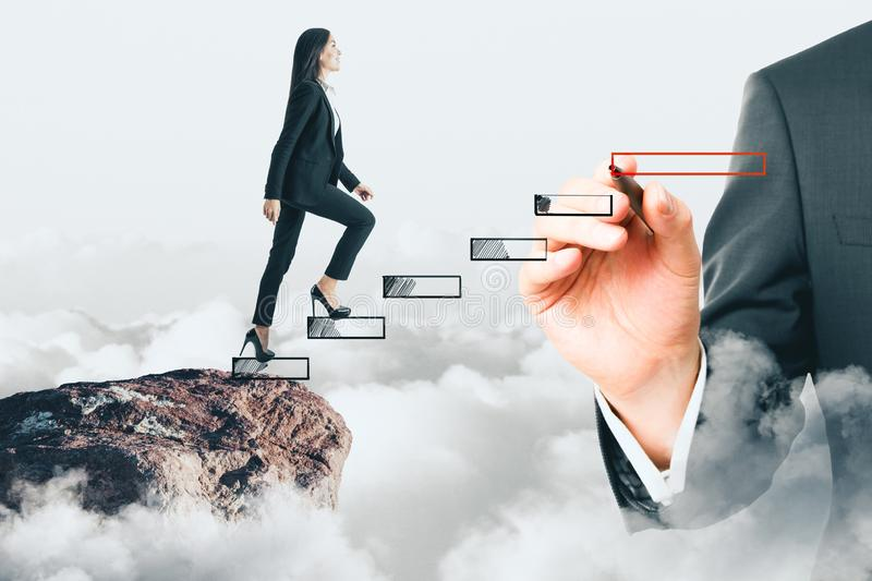 Career development and opportunity concept. E view of young businesswoman climbing hand drawn stairs on sky cliff background. Career development and opportunity stock photo
