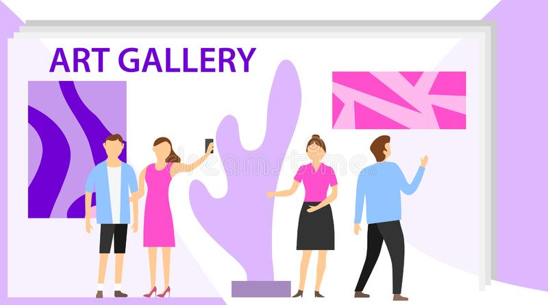 E Visitantes da exposição que veem pinturas abstratas modernas na arte contemporânea ilustração stock