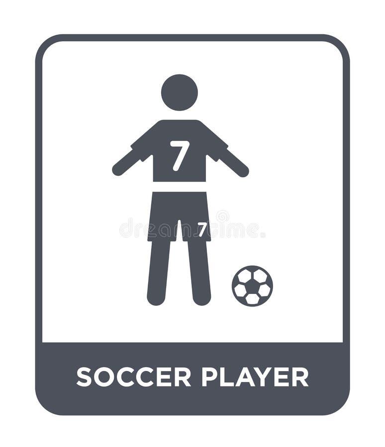 E voetballerpictogram op witte achtergrond wordt geïsoleerd die r royalty-vrije illustratie