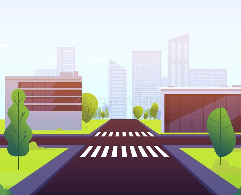 E Voiture urbaine vide d'intersection de passage piéton de bâtiment de paysage de croisement de route de rue du trafic de route illustration libre de droits