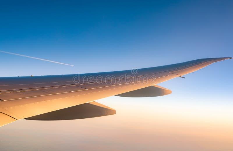 E Vol d'avion sur le ciel bleu r r photo libre de droits