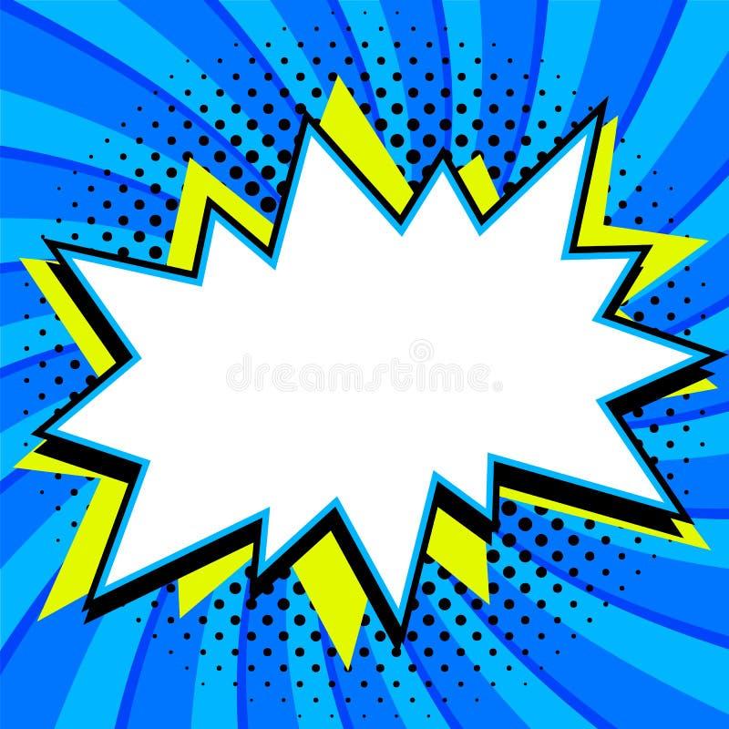 E Vorm van de de stijl de lege klap van het strippaginapop-art op verdraaid blauw vector illustratie