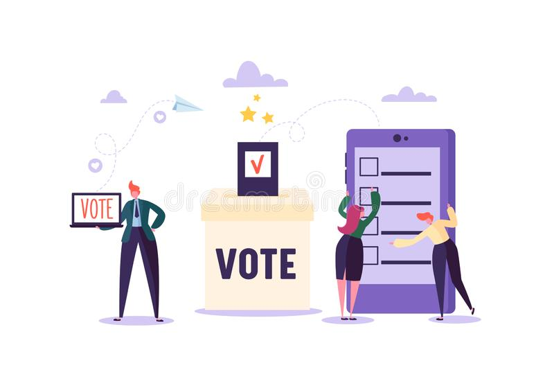 E-voting Concept with Characters Voting Using Laptop and Tablet via Electronic Internet System. Man and Woman Give Vote. Into the Ballot Box. Vector royalty free illustration