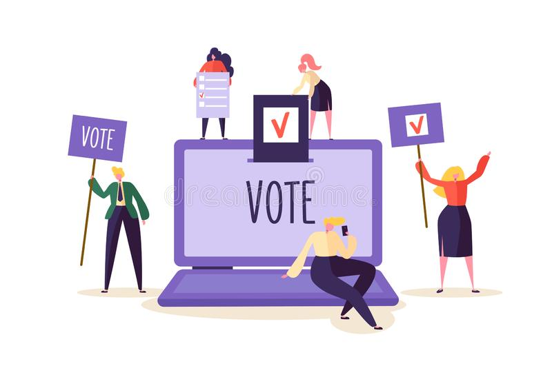 E-voting Concept with Characters Voting Using Laptop via Electronic Internet System. Man and Woman Give Vote into Box. E-voting Concept with Characters Voting vector illustration